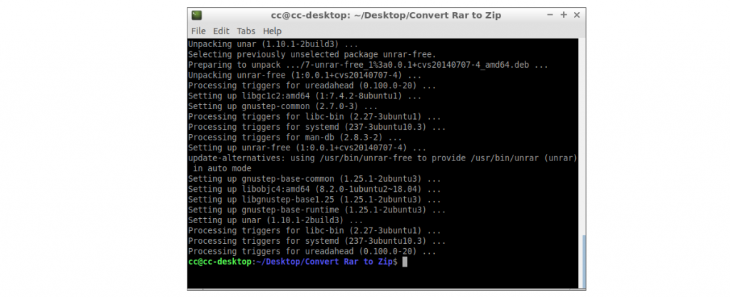 Step 3 to convert rar to zip in linux