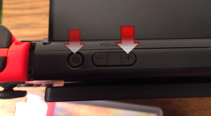 power button and the volume up button